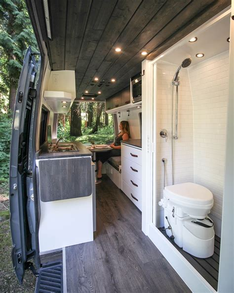 This camper van bathroom option is very popular, mainly due to the privacy that it provides. Logan | Van home, Van conversion interior, Sprinter van conversion