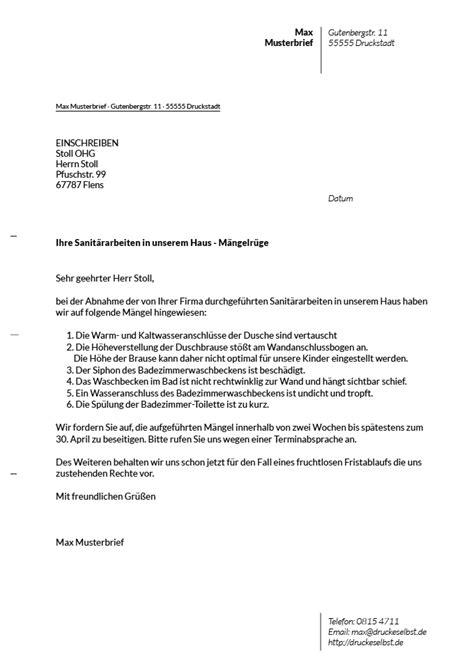 Maengelruege Und Maengelbeseitigung by Drucke Selbst Musterbriefe F 252 R M 228 Ngelr 252 Ge