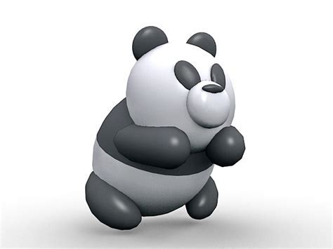 Cute panda cartoon 3d model 3ds Max files free download