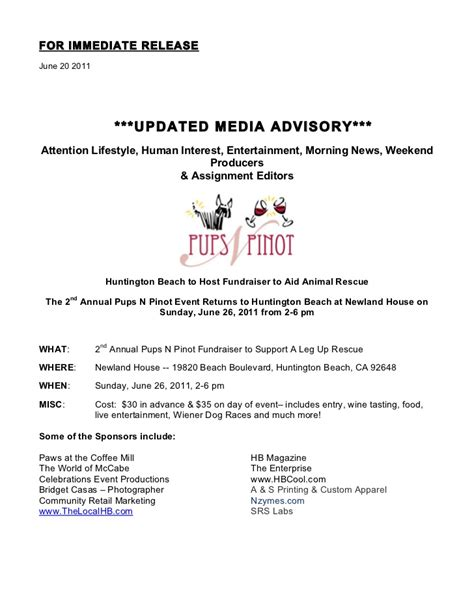 Media Alert Template by 6 20 11 Pups N Pinot Updated Media Alert 1