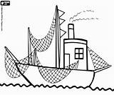 Fishing Boat Nets Coloring Printable sketch template