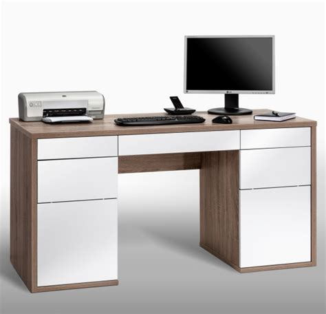 Lorna White Gloss And Truffle Oak Computer Desk With