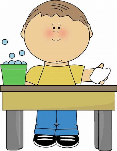 Table Clip Clipart Classroom Boy Washer Wiping