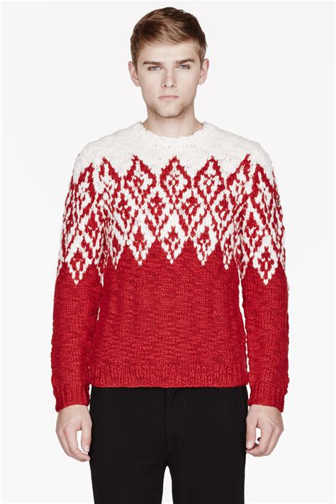 mens patterned sweaters moncler and white patterned sweater in for lyst