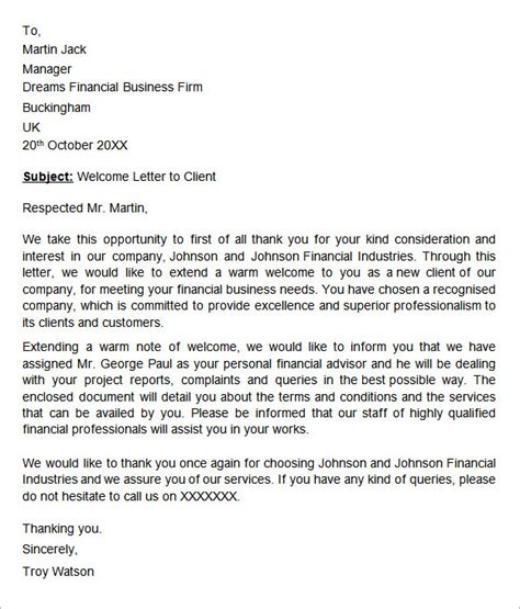 welcome letter template 7 sle welcome letter templates sle templates