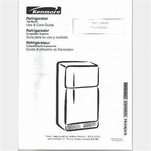 Sears Kenmore Refrigerator Model 253 63712300 Parts List Wiring Diagram User Installation Guide