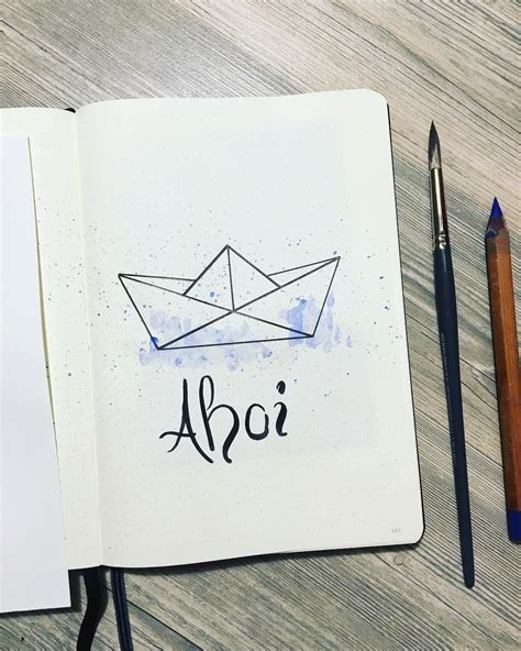 How To Draw A Boat Paper by Paper Boat Drawing Bullet Journal Drawing Ideas