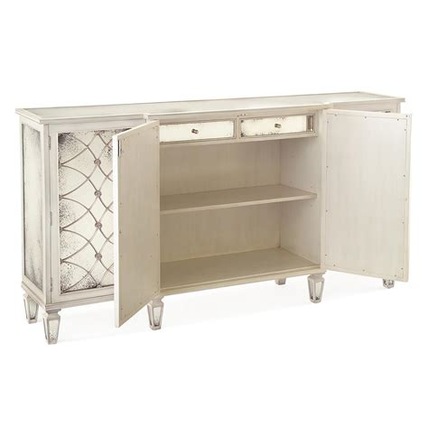 Antique White Sideboard Buffet by Bonet Regency Grillwork Antique White Mirrored