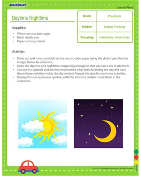 day and worksheets for prek daytime nighttime day