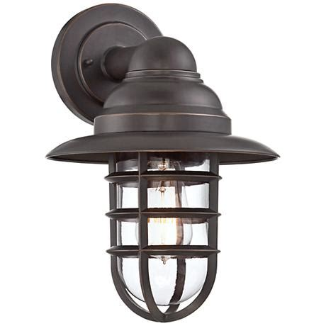 marlowe bronze 13 1 4 quot h hooded metal cage outdoor wall