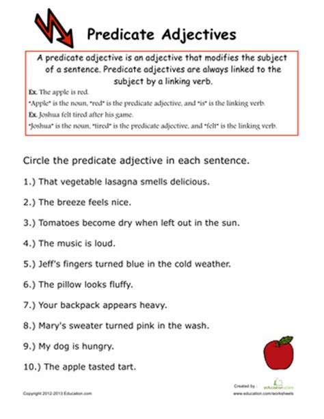 predicate adjectives worksheets essentials and homeschool
