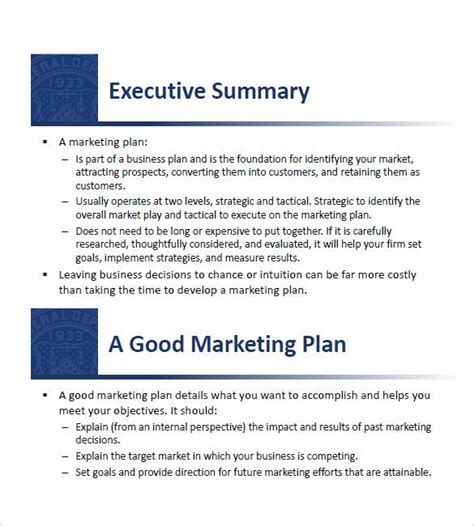 small business marketing plan templates