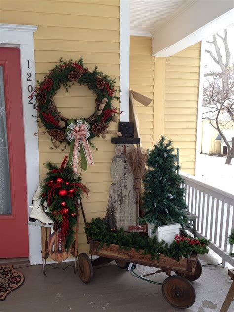 primitive porches  primitive christmas porch decor