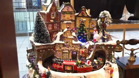 animated christmas village with train beautiful fiber optic with moving santa