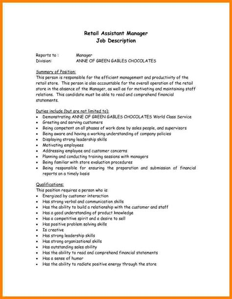 Resume Pattern Sle by 9 Retail Manager Description Introduction Letter