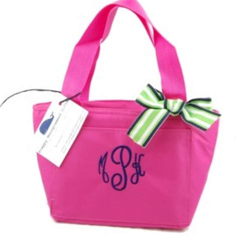 monogrammed lunch bags  ribbon preppy lunch bags