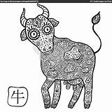 Zodiac Chinese Coloring Pages Signs Printable Ox Colouring Adult Animals Erwachsene Sternzeichen Horoscope Getcolorings Cow Bing sketch template