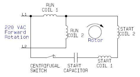 220 Ac Wiring Color Code by Single Phase Motor Connection With Capacitor
