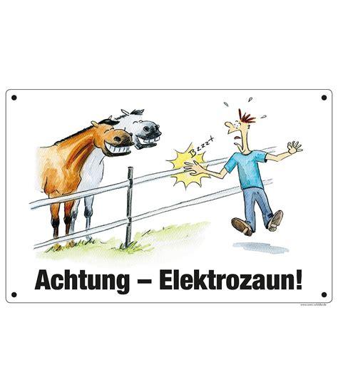 comic warnschild achtung elektrozaun boxenschilder
