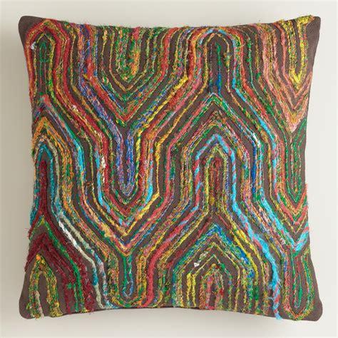bohemian throw pillows boho sari herringbone throw pillow world market