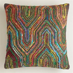Boho sari herringbone throw pillow world market for Bohemian pillows and throws