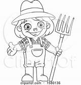 Clipart Royalty Yayayoyo Coloring Farmer Pitchfork Lineart Pages Kid Cartoon Illustrations sketch template
