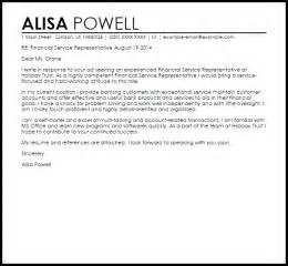 financial representative resume cover letter financial service representative cover letter sle
