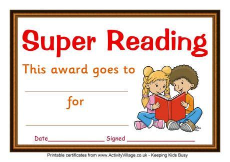 reading certificate super reading