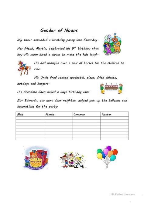 gender  nouns worksheet  esl printable worksheets