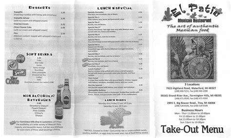 Patio Menu by El Patio Mexican Restaurant Reviews Menu Waterford 48327