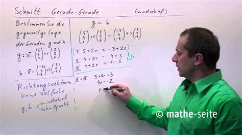 schnittpunkt zweier geraden berechnen beispiel