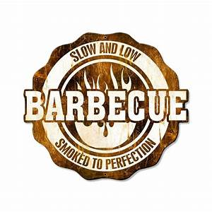 Barbecue Slow and Low Metal Sign BBQ Restaurant Kitchen
