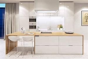 Cuisine Bois Et Blanc : cuisine bois et blanc moderne 25 id es d am nagement ~ Dailycaller-alerts.com Idées de Décoration