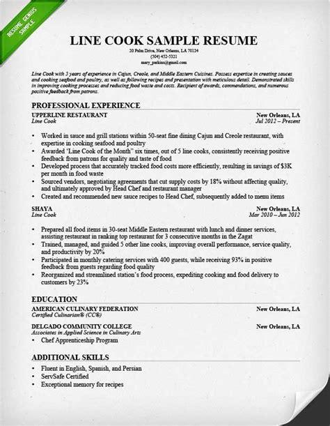 line prep cook resume sle