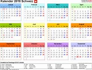 Kalender 2018 Schweiz in Excel zum Ausdrucken