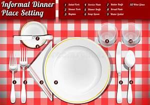 Set Of Place Setting Informal Dinner Stock Vector