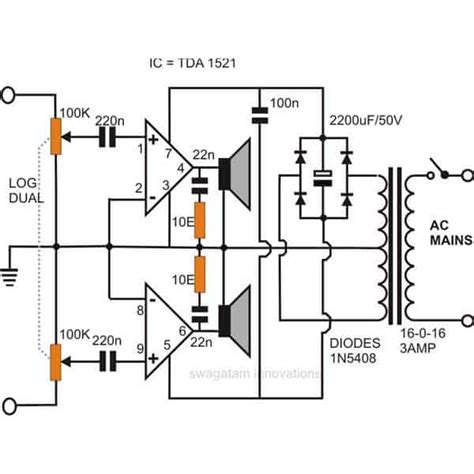 simple stereo audio amplifier circuit  ic