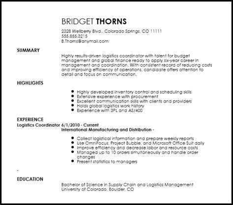 logistics coordinator resume the best resume