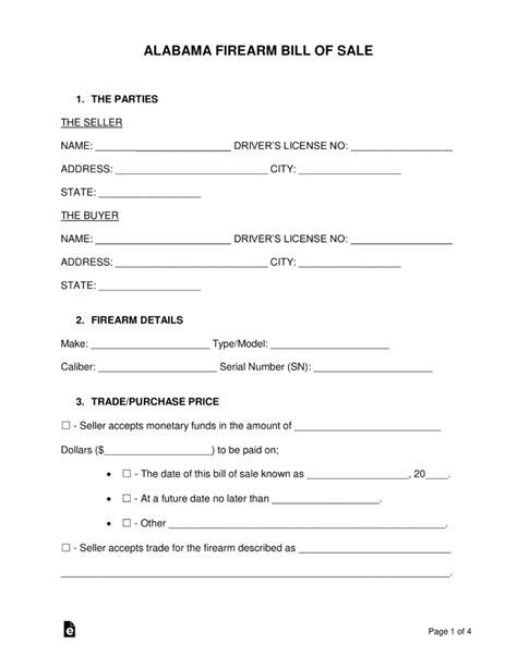 alabama firearm bill  sale form word