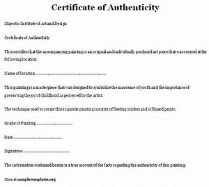 letter of authenticity template search results With letter of authenticity template