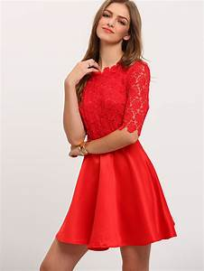 robe avec dentelle manches mi longue rouge french romwe With robe trapeze rouge