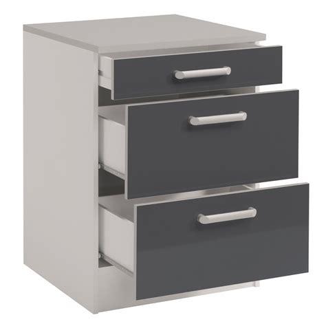 meuble bas de cuisine meuble bas de cuisine contemporain 60 cm 3 tiroirs blanc