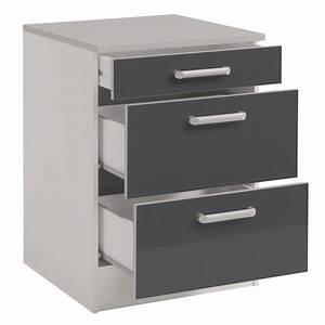 Meuble bas de cuisine contemporain 60 cm 3 tiroirs blanc for Meuble de cuisine gris brillant