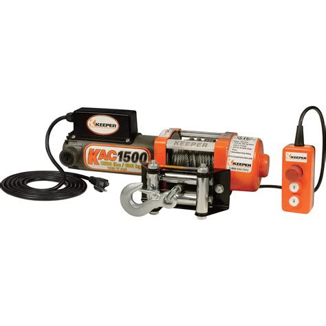keeper 110 120 volt ac powered electric utility winch 1500 lb capacity galvanized wire