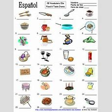 Spanish Food Vocabulary  Table Vocabulary 28 Image Ids  La Comida Y La Mesa  Spanish Learning