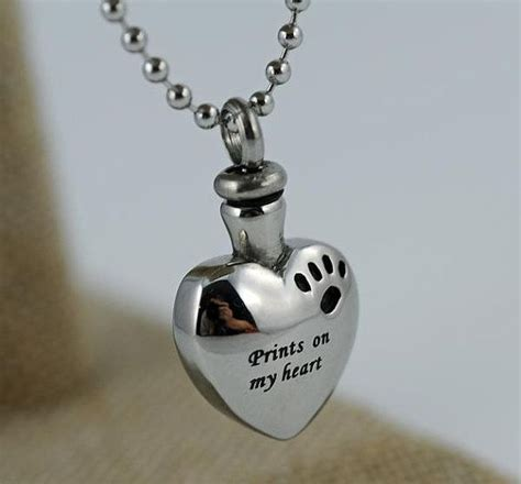 silver necklace urn  pet ashesheart wpaw print