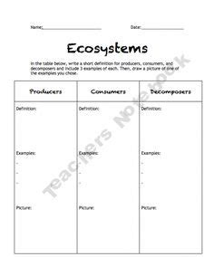 5th Grade Science Worksheets Ecosystem  The Unit Student Work And On Pinterestreading