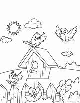 Coloring Pages Birdhouse Birds Printable Drawing Near Swing Spring Boy Crafts Prints Books sketch template