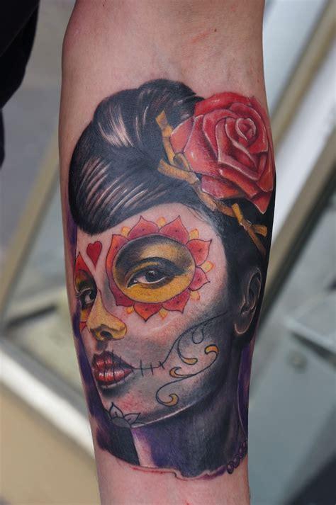 catrina  flower tatto  leg