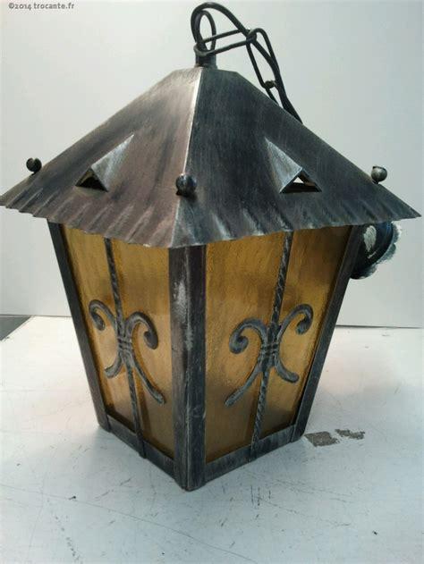 lanterne fer forge exterieur verre jaune la trocante d 233 posez et encaissez